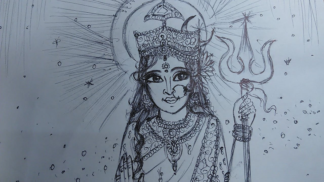 Durga maa how to draw goddess durga powerful speed drawing