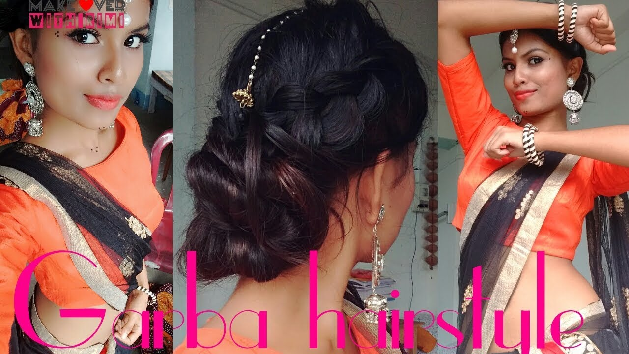 durgapuja/garba/navaratri hairstyle | festive hairstyle | dutch braided low twisted bun for festival