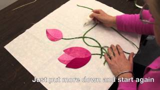 Intertwined Bias Stems, And Two Tone Leaves In Hand Applique Quilting - Peggy's Puzzle Block 4