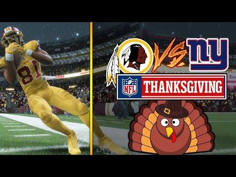 NFL ON THANKSGIVING 11/23/2017 - New York Giants vs Washington Redskins (Madden NFL 18 Gameplay)