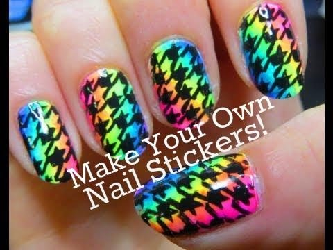 Neon Rainbow Houndstooth Party Nail Art Tutorial
