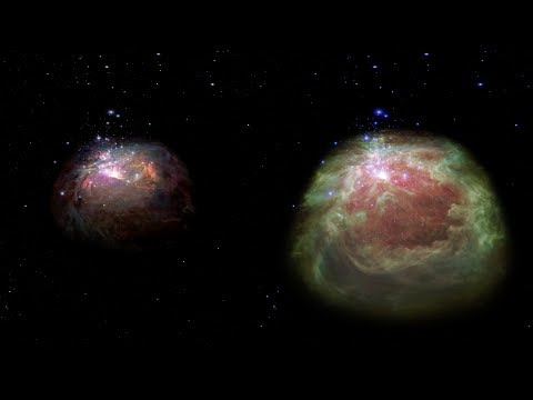 Flight Through the Orion Nebula in Visible and Infrared Light – 360 Video