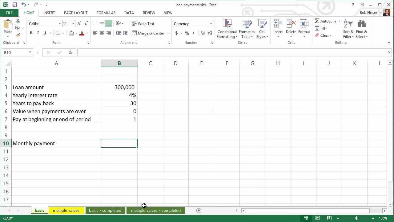 spreadsheets for finance how to calculate loan payments youtube