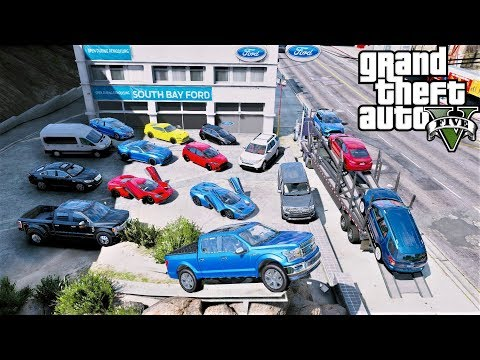 GTA 5 Real Life Mod #107 Transporting Fords To My Ford Dealership With 6 Tractor Trailer Car Haulers