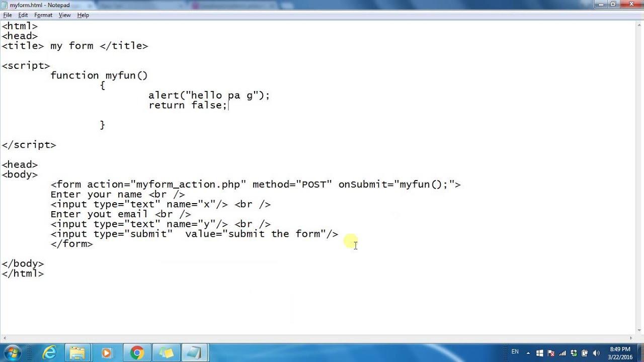 Punjabi revolution tutorials PHP Form validation onSubmit ...