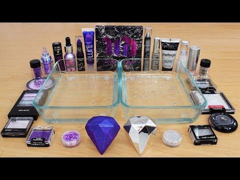 Purple vs Silver - Mixing Makeup Eyeshadow Into Slime Special Series 245 Satisfying Slime Video