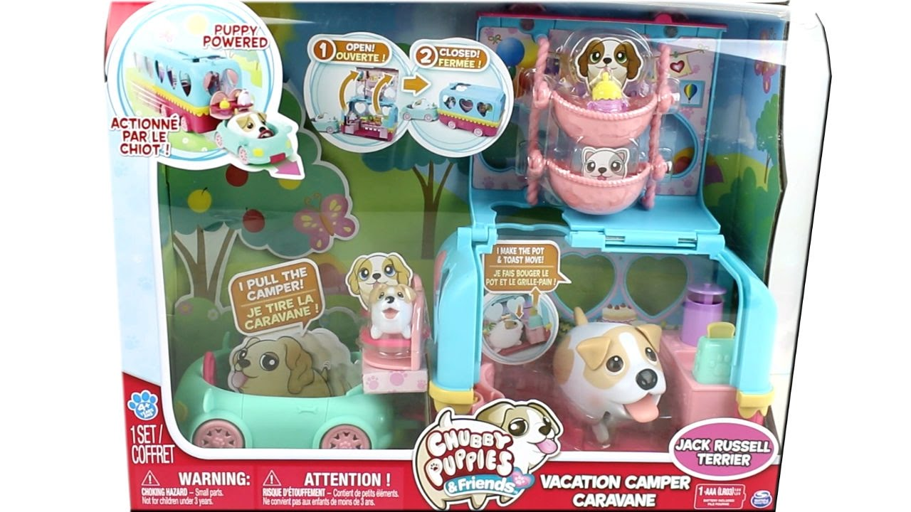 Chubby Puppies And Friends Vacation Camper Set With Jack Russell