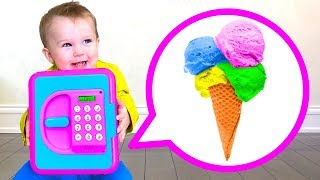 Kids play with ICE CREAM and SECURITY BOX TOY