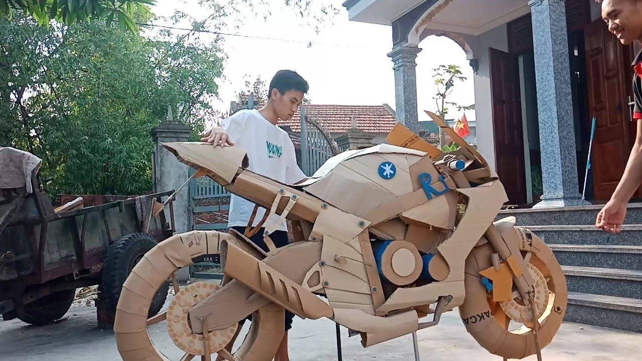 Chế tạo siêu môtô Yamaha R1 cá trê bằng bìa giấy | YZF - R1 | Homemade super yamaha r1 motorcycle