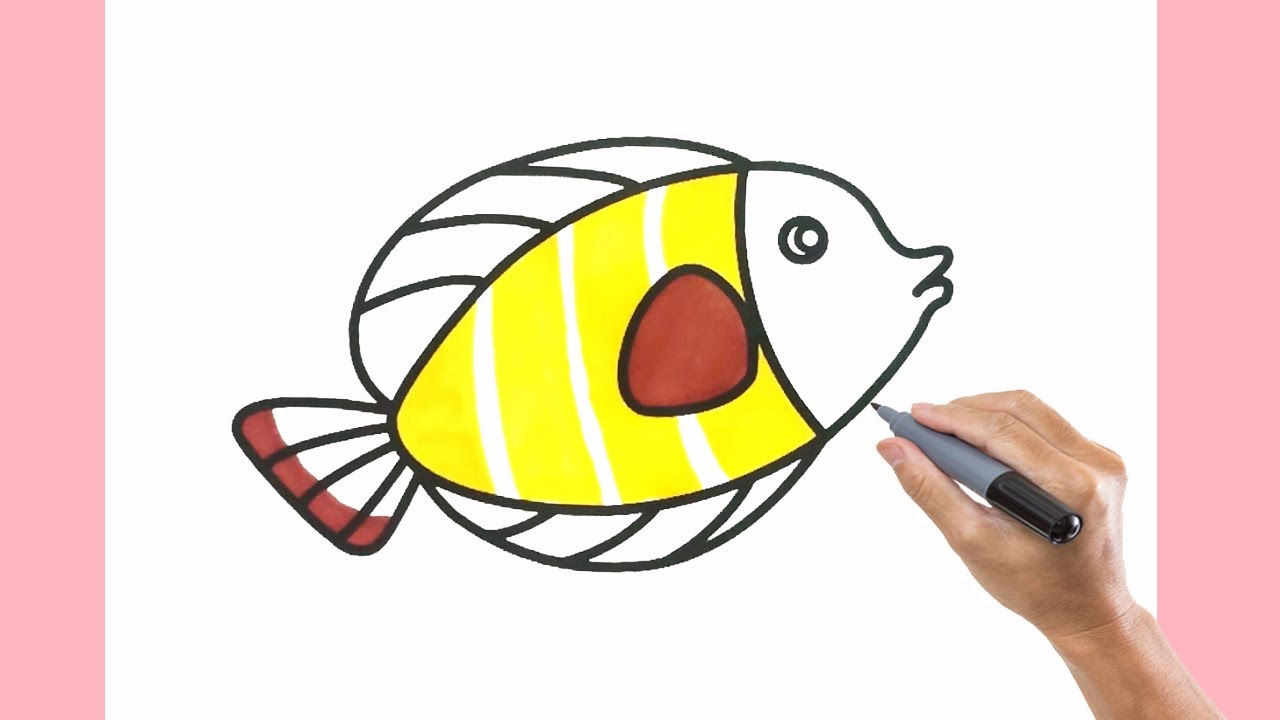 How to Draw a Fish Simple and Easy Step by Step - Drawing and Coloring for Children
