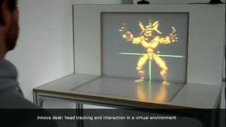 "L-shaped Display-system ""innovadesk"" Using Kinect"