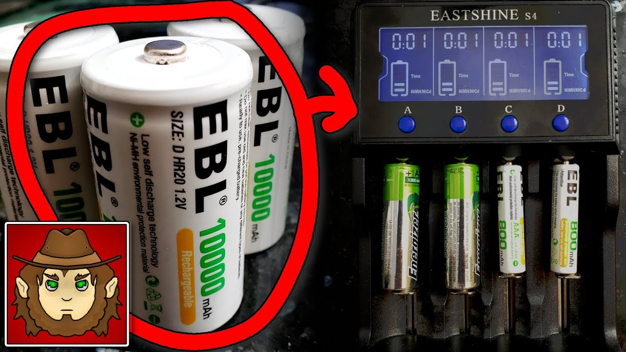EBL D Size Battery Adapters Use for Ni-MH Rechargeable AA Battery Cells 4 Pack