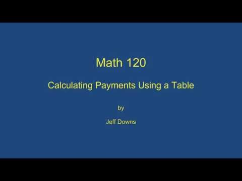 Calculating Payments Using a Table