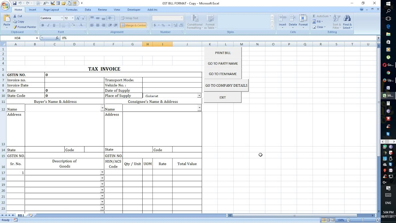 gst bill excel sheet format automatic work