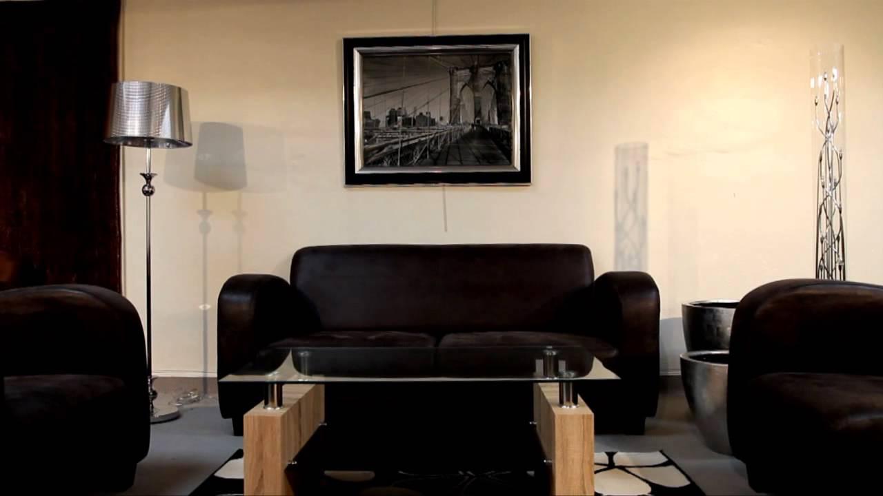 Ensemble club canapé et fauteuil tissu gris foncé - Modèle ...