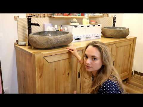 Des vasques en pierre naturelle pour une salle de bain exotique !