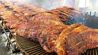 Biggest Rib Grill in Europe. Huge ! Seen on the Road in Italy. World Street Food