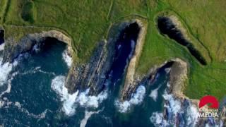 Top-view aerial of Irish Cliffs - Wild Atlantic Way - West Cork