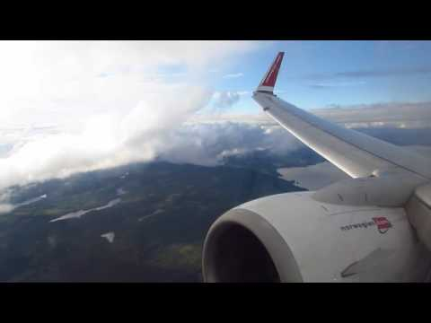 [WELCOME TO NORGE] Norwegian Boeing 737 Scenic Approach, Landing and Taxi at Oslo Gardermoen Intl.