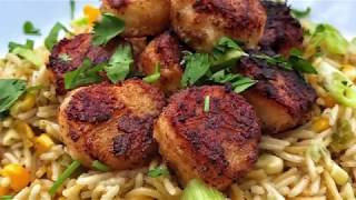 NEWFACE MAGAZINE LV MEDIA FEATURING: Crispy Cajun Scallops with Sweet Corn Rice Pilaf with Chef Dari