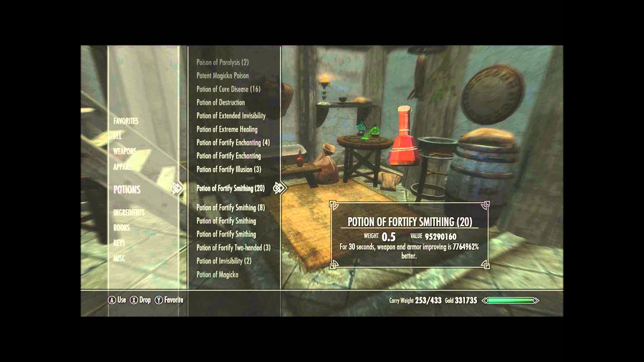 Skyrim: Creating High-level Fortify Enchanting and Blacksmithing Potions