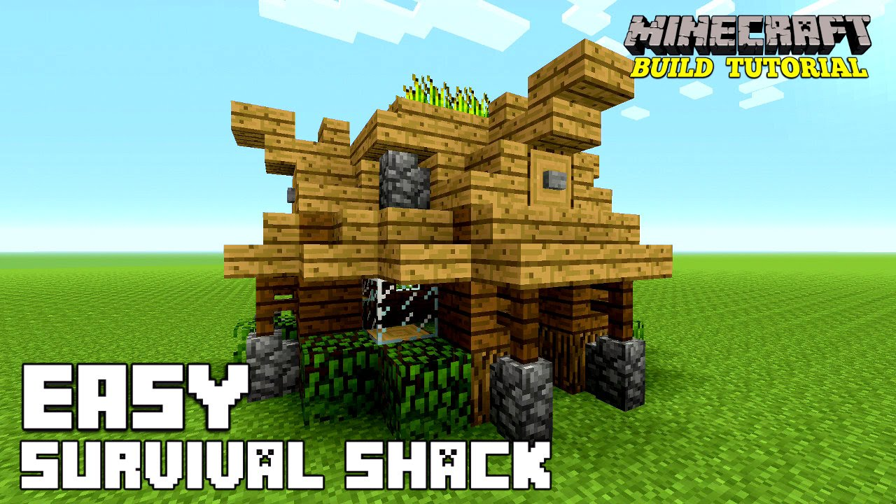 Minecraft how to build a small survival house tutorial easy survival shack medieval 2016 youtube