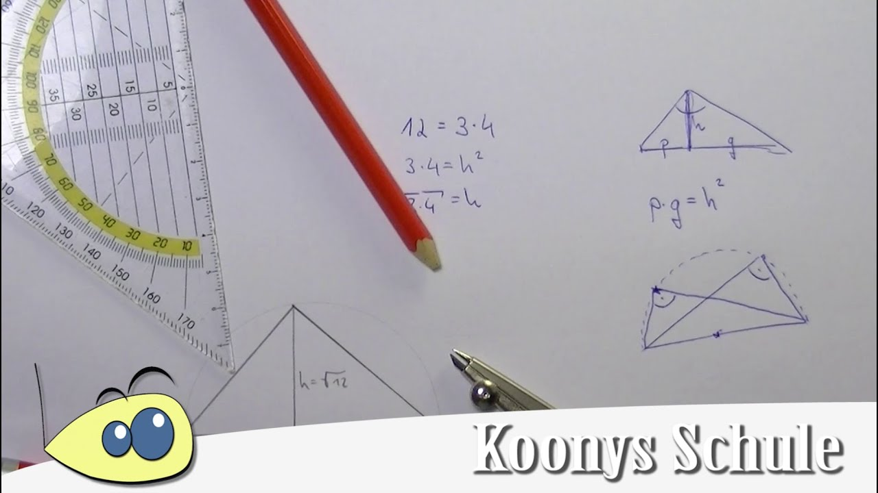 Wurzel konstruieren, Höhensatz, Satz des Thales, Beispiel mit ...