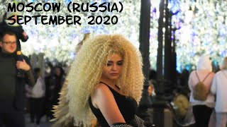 Walking Moscow (Russia): beautiful Russian girls in the evening in the city center. September 2020