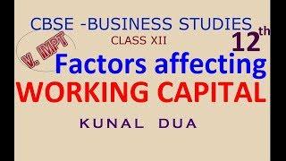 Factors affecting working capital (Hindi / english)