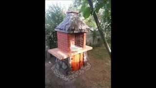Grill ogrodowy z kamienia, cegły