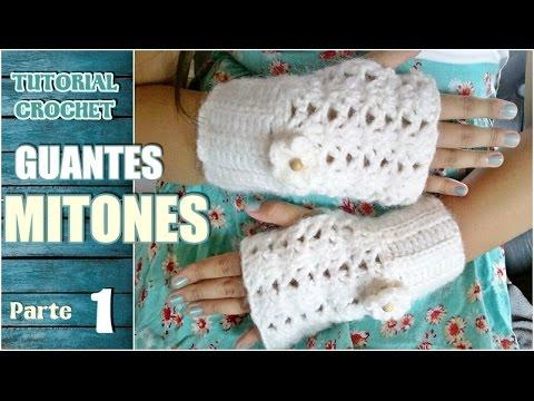 Como tejer mitones, guantes sin dedos a crochet, paso a paso (1/2 ...