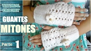 Repeat youtube video Como tejer mitones, guantes sin dedos a crochet, paso a paso (1/2)