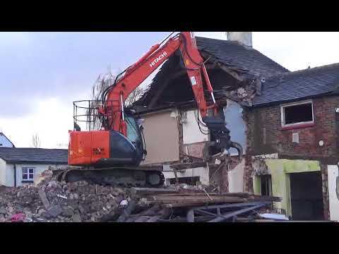 The Demolition of Red Lion Pub, Burscough, 31st January 2018. Part 2.