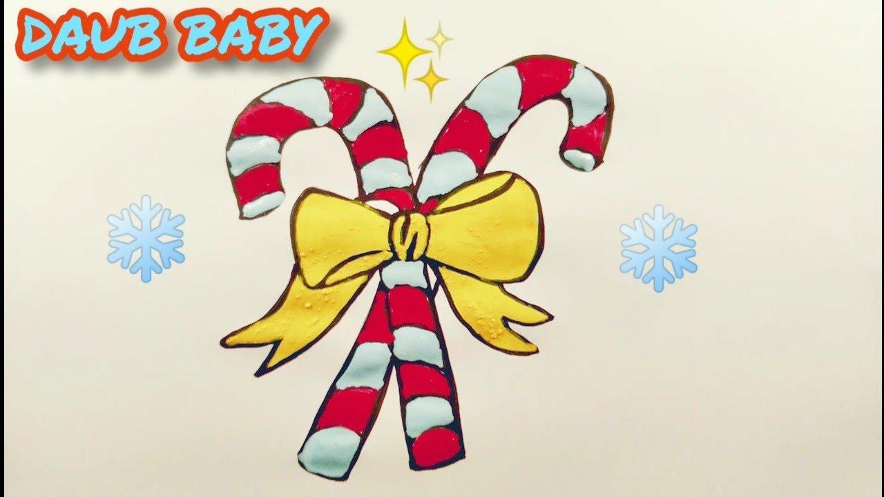 КАК НАРИСОВАТЬ Посох Санта Клауса ( ДВА ПОСОХА С БАНТИКОМ ...