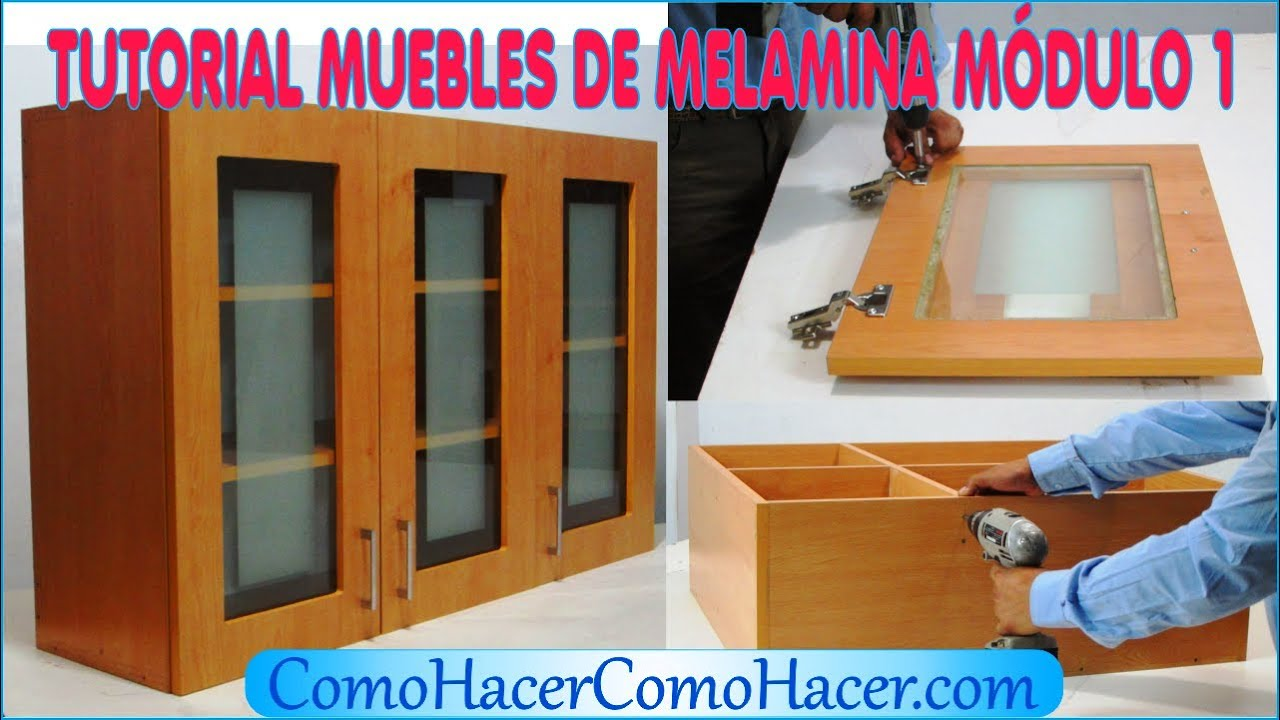 Tutorial muebles de melamina m dulo 1 youtube for Medidas de muebles de oficina pdf
