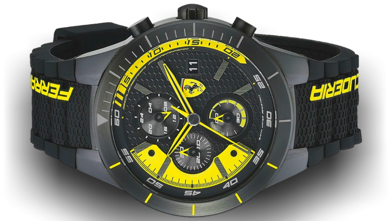black fashionmart ferrari strap race yosii textured wristwatches rubber with s mens men yellow day detail all and watch