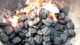 Gasoline-covered charcoal igniting at 240fps