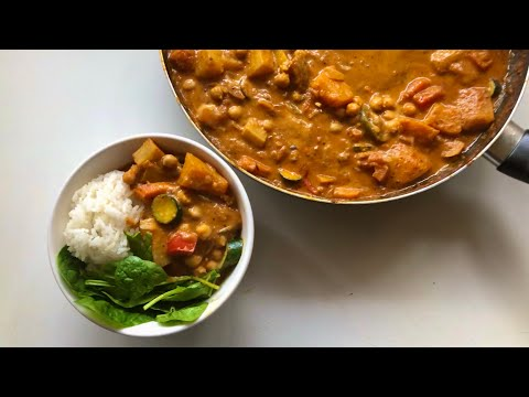 Summer-Vegetable Chickpea Coconut Curry  #quickcurry