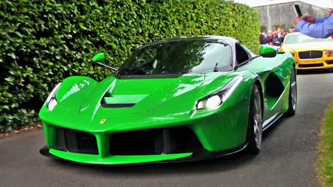 Green Laferrari On The Road Brutal Revs Acceleration