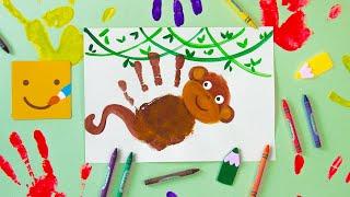 Как нарисовать ОБЕЗЬЯНУ Рисуем ладошками животных Ладошка картинки