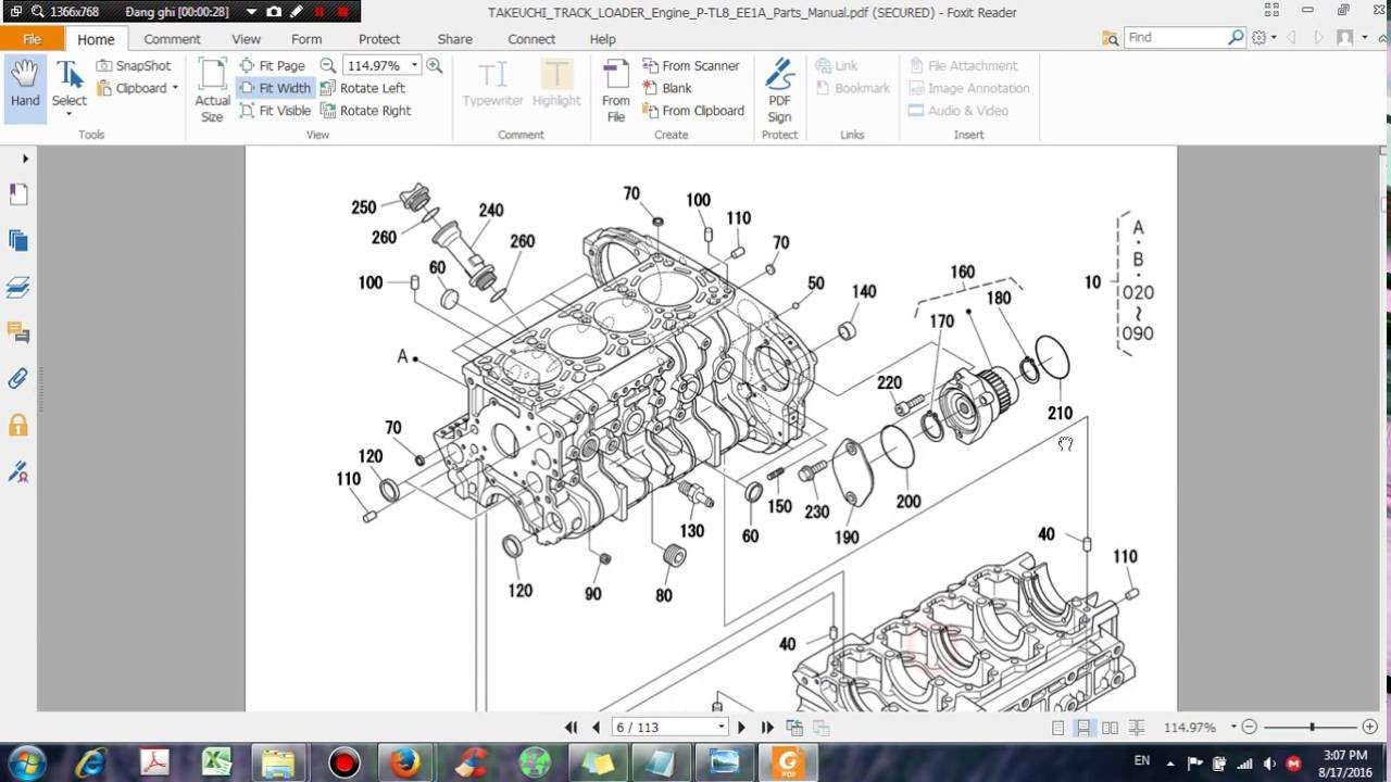 Takeuchi Track Loader Engine P Tl8 Ee1a Parts Manual - Dhtauto Com