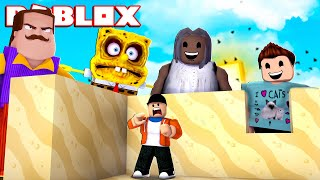 BUILDING A SAND CASTLE FORT TO SURVIVE DENIS AND HIS MONSTER ATTACKS! | Roblox Gameplay