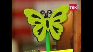 """HAND MADE Подставка из прищепок для фотографий """"Зелёная бабочка"""""""