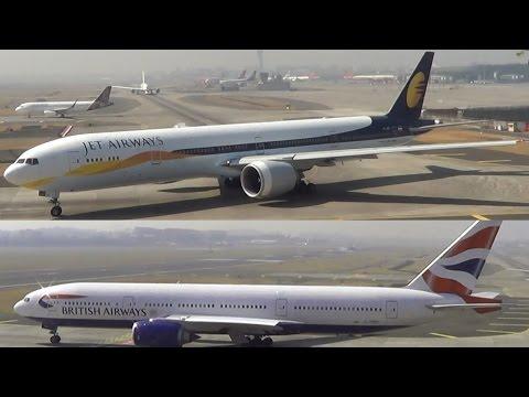 JET AIRWAYS BOEING 777 & BRITISH AIRWAYS BOEING 777 LANDING AT MUMBAI AIRPORT
