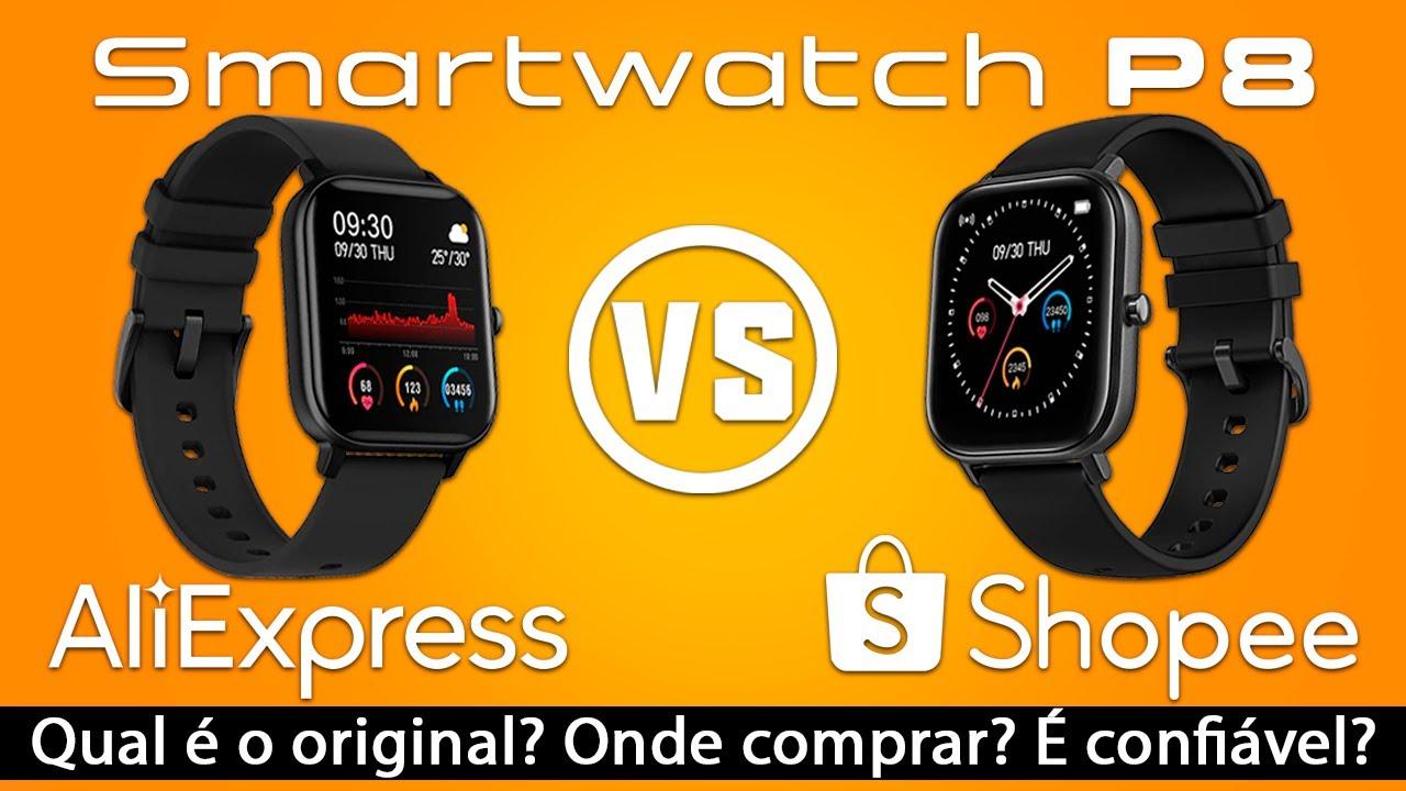 Smartwatch P8 do Shopee é ORIGINAL? Comparando com P8 do AliExpress. Onde COMPRAR? É CONFIÁVEL?