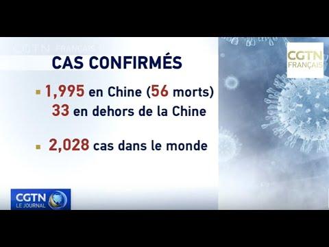 Epidémie: 2 028 cas confirmés dans le monde, 56 morts en Chine