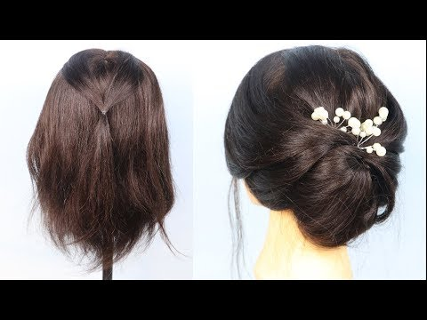 beautiful-wedding-hairstyle-for-short-hair- -hairstyles-for-short-hair- -prom-hairstyles- -messy-bun