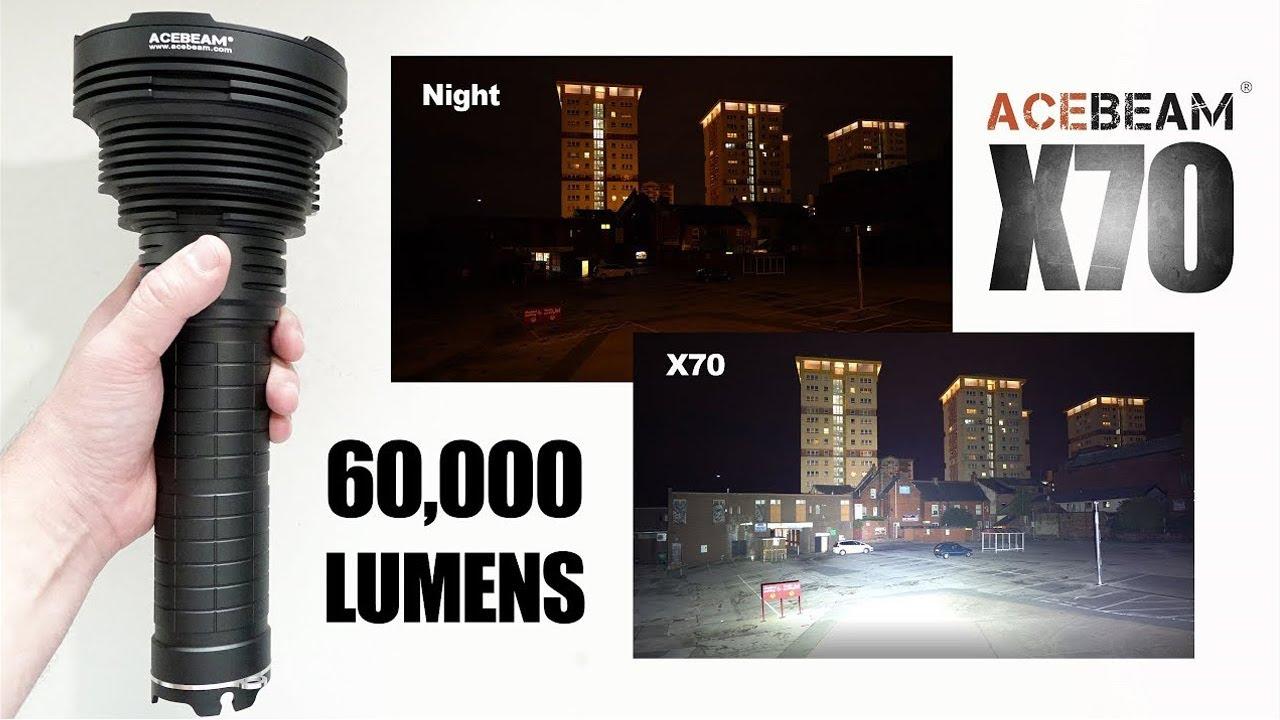 World's BRIGHTEST flashlight! Acebeam X70 - 60,000 lumens