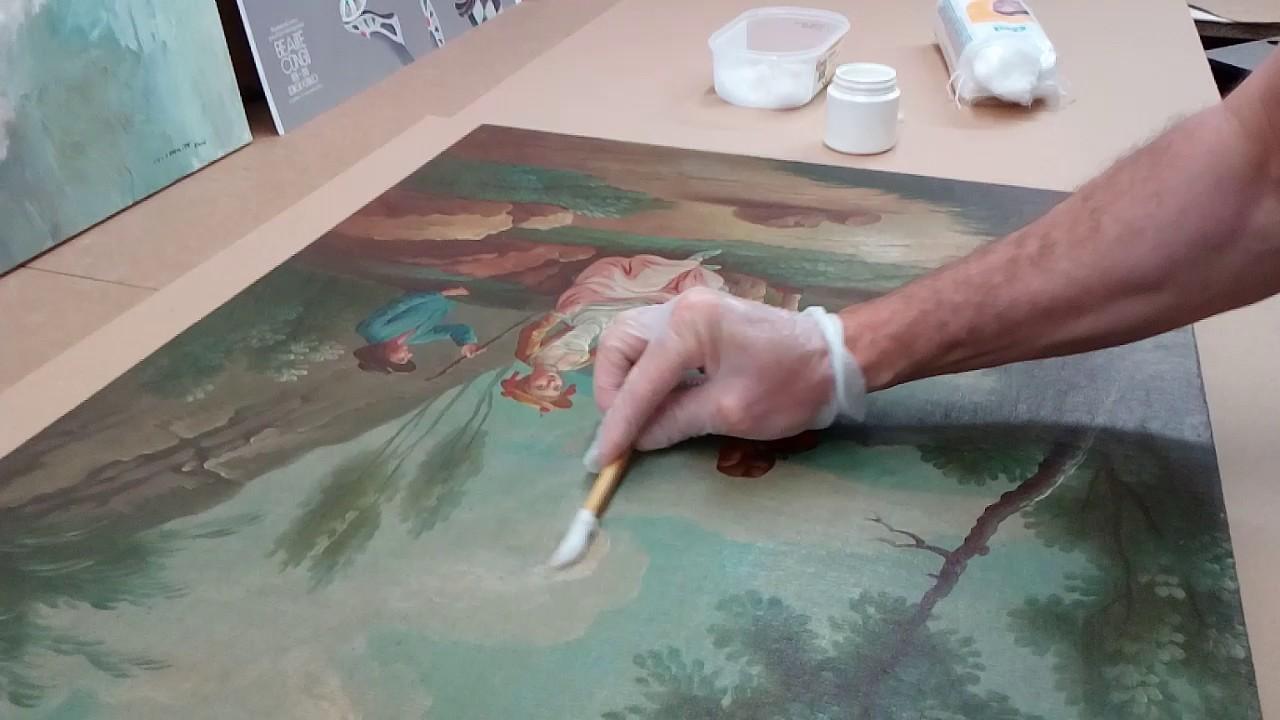 Nettoyer Un Vieux Tableau nettoyage une toile à l'huile - première étape