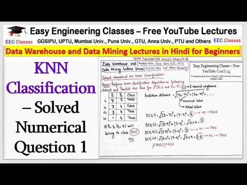 KNN Classification– Solved Numerical Question In Hindi(Numerical 1)